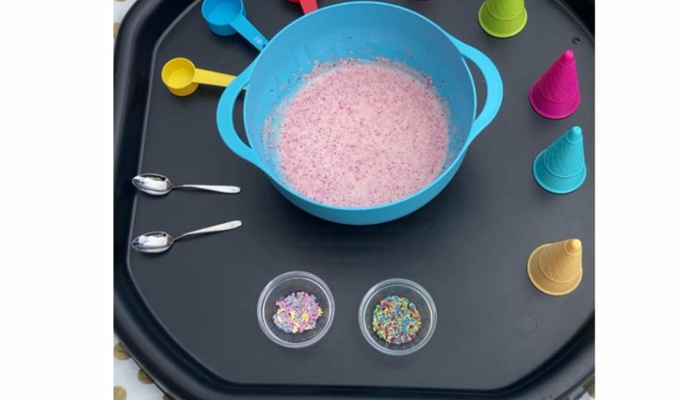 Picture of ice cream tuff tray activity