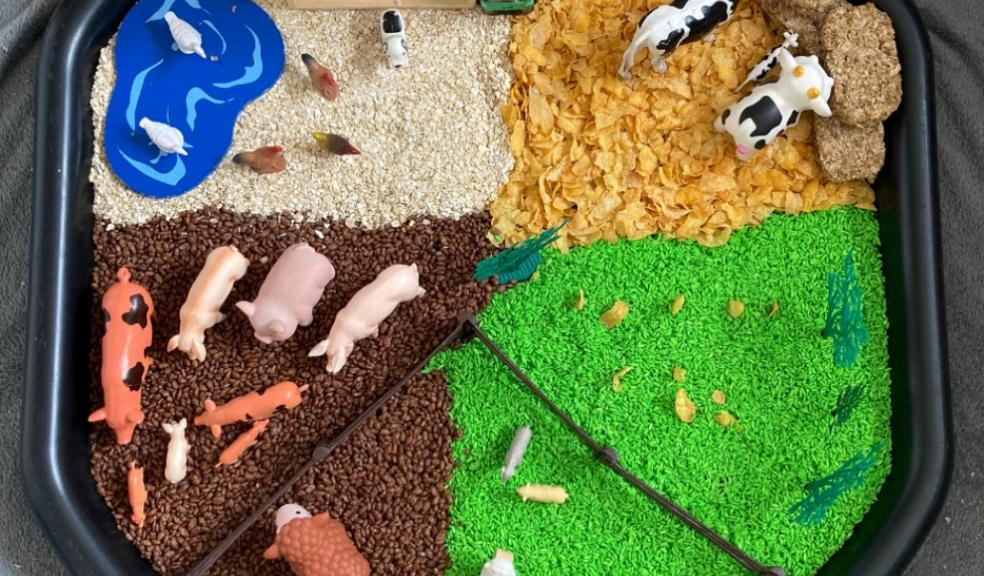 picture of farm themed tuff tray activity