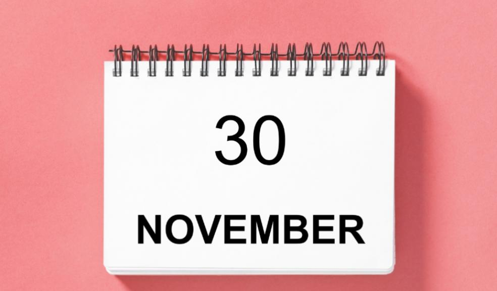 Picture of a calendar with the 30 november written on it