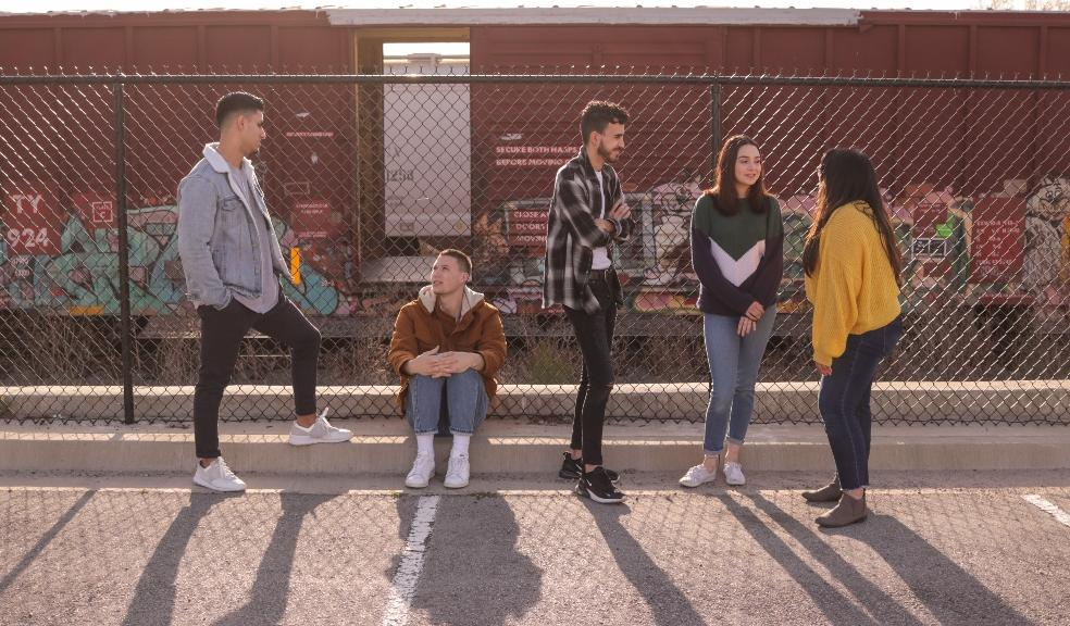Picture of a group of teenagers stood outside