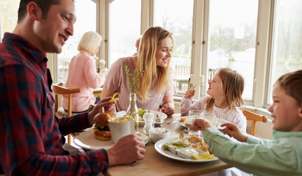 Family eating in a restaurant