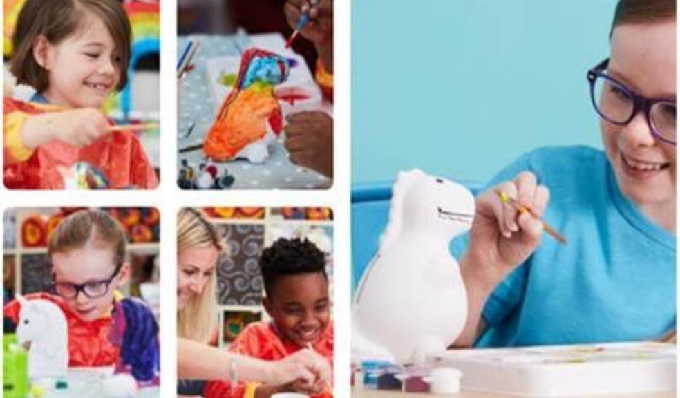 Picture of children enjoying hobby crafts paint your own ceramic workshop