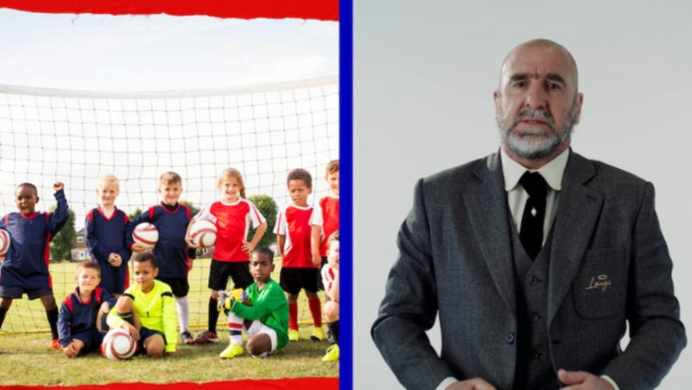 Picture of Eric Cantona and a childrens football team