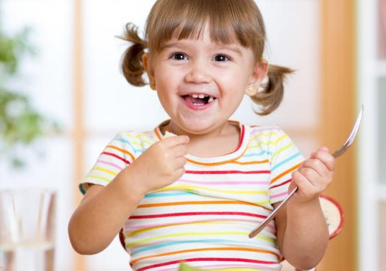Picture of a child eating healthy food