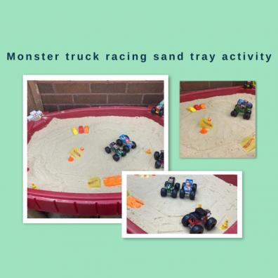 picture of monster truck racing sand tray activity