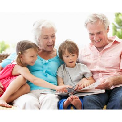 Picture of grandparents reading with their grandchildren
