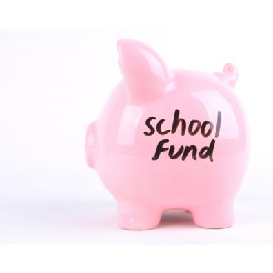 Picture of a piggy bank with school fund written on the side