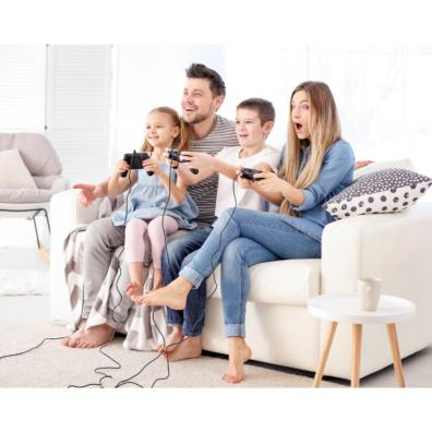 Picture of a happy family playing video games together