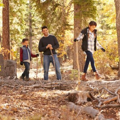 Picture of a father having fun in the woods with his children