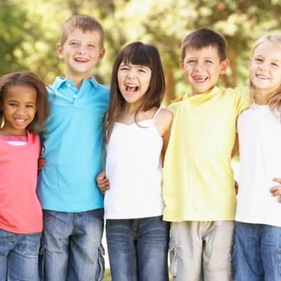 picture of happy, multi cultural children outside