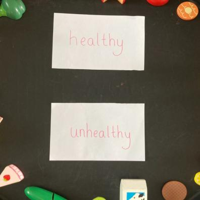 picture of a healthy food sorting activity for kids