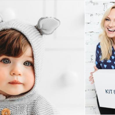 Picture of Emma Bunton promoting her kit & kin babywear range