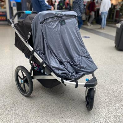 Picture of new double pushchair sun shade by snoozeshade
