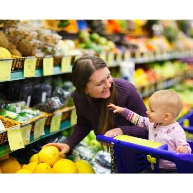Picture of a mum and her baby in a supermarket