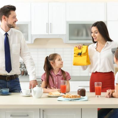 Family getting ready to go to school